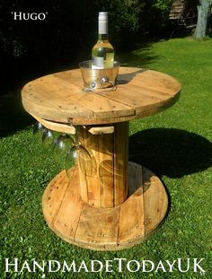 Handmade Rustic Industrial Garden Drinks Wine Table with Ice Bucket and Glass Hangers Cable Reel by HandmadeTodayUK on Etsy