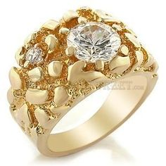 Size 13 Clear Brass Cubic Zirconia Gold Ring