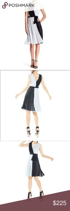 "BCBGMAXAZRIA Bailie Pleated Color-Blocked Dress Bailie Pleated Color-Blocked Dress by BCBGMAXAZRIA  Elegant pleats add graceful fluidity and movement to this evening silhouette. * Round neckline. * Sleeveless. * Sheath silhouette. * Concealed center back zipper with hook-and-eye closure. * Banded waistline. * Color-blocked. * Sunburst pleating throughout. * Hits at the knee. * Self/Contrast: Polyester georgette. * Lining: Polyester crepe de chine. * Size 6 measures approximately 41.5"" from…"