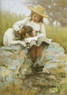 """The Girl with the Dog"". (by Theodore Robinson)."