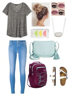 """""""a little back to school """" by mkhays on Polyvore featuring Jacob Cohёn, H&M, Birkenstock, The North Face, Kate Spade and Kendra Scott"""