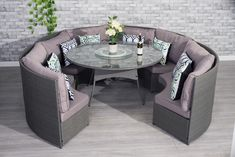 This rattan set is hand-made for highest possible standard, which combines thick flat weave and round weave finished in the edge areas and armrest. Rattan Garden Furniture, Garden Sofa, Sofa Furniture, Outdoor Furniture Sets, Outdoor Decor, Grey Round Dining Table, Dining Sofa, Outdoor Living, Conservatory