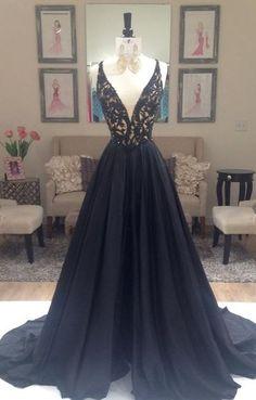 Elegant prom dress,Black prom dress, A-line prom dress, V-neck prom dress gown, party dress