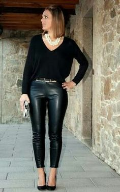 Black leather pants v neck sweater and heels outfit