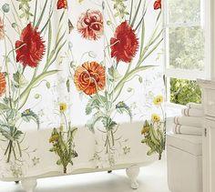 Bloomfield Floral Organic Shower Curtain #potterybarn