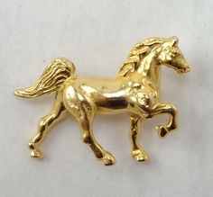 Vintage Golden Horse Brooch Pin Detailed Gold by Sisters3andMe $12.98