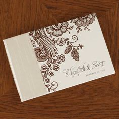 Personalized Guest Book, Cocoa Lace by Rag & Bone Bindery | Hatch.co