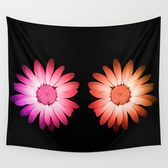 Two blooms Wall Tapestry Colored blooms of the same flower   Nature, blooming, flora, pink, orange