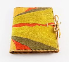 Fish skin and leather iPad case - book style in multicolor yellow