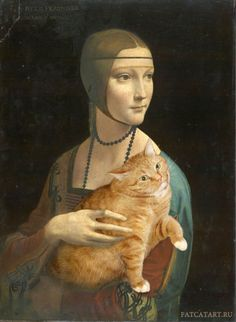 Lady with an Ermine by Leonardo da Vinci  Artist Inserts Her Fat Cat Into Famous Classical Paintings  Russian artist Svetlana Petrova photoshops her awesome cat named Zarathustra into iconic and famous works of art…
