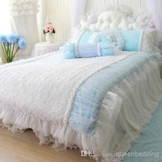 Graceful navy blue duvet cover made of high quality cotton, and luxurious silk full bedding sets, pick a bedding comforter sets as your present to a new couple, find queenbedding for the best romantic queen king bedding set rose flower blue lace rustic princess wedding kit lace white pink korean bedding 4pcs bedskirt.