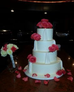 Cake  Flowers and Toss Bouquet