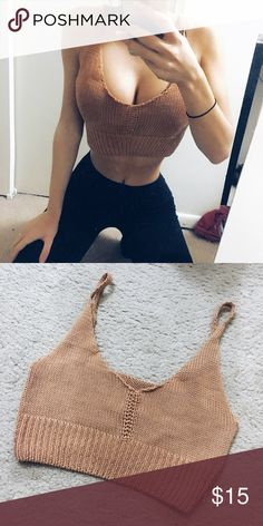 Knit Crop Top Orange/beige knit crop top- One size fits all. Very stretchy and comfortable Tops Crop Tops