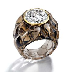 Suzanne Belperron Artichoke smoky quartz ring, made from her original designs.