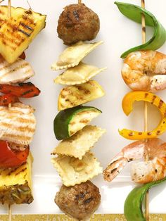 Fun! Serve meatballs, cheese ravioli and grilled vegetables on a kabab for a handheld #pasta dinner. http://www.parents.com/recipes/cooking/kid-friendly-food/kiddie-kabobs/?socsrc=pmmpin112712fPastaKabab#page=4