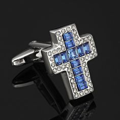 Add a touch of spirituality to your style with RnBjewellery Endless Faith Cufflinks, featuring a gorgeous cross made of Blue Crystals, surrounded by CZ stones on a deep silver background.