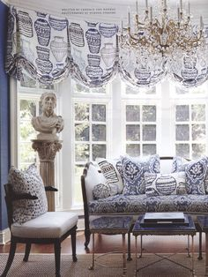 Brunschwig & Fils in April 2014 Traditional Home Chair pillow: Les Touches in Blue 8012138-5