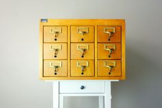 Hey, I found this really awesome Etsy listing at https://www.etsy.com/listing/178676265/vintage-library-card-catalog-9-drawer