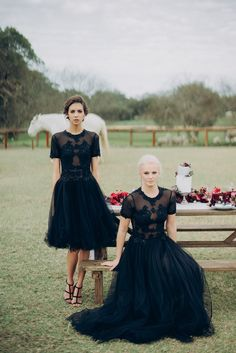 Black embroidered tulle wedding gowns // Black Tie and Berry-Toned Styled Shoot on a Cuddly Animal Farm