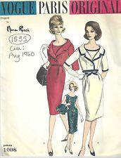 1960 Vintage VOGUE Sewing Pattern B38 DRESS & BOLERO JACKET (1555) By Nina Ricci