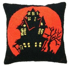 Haunted House Halloween Pillow $57 #Cultured Living #Halloween Decor #haunted house