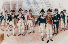 Royal Navy officers and midshipmen 1787-1812    The grouping to the left has the 1787-1795 uniforms, that at right the 1795-1812 uniforms. The officer in scarlet belongs to the Royal Marines, circa 1795. The Admiral (fourth from the right) is Horatio Nelson, Viscount Nelson (1758-1805). To the left stands a captain, to his right a lieutenant. Second from right is a midshipmen (naval officer in training) with the distinctive white collar patches of his rank. (DND Library)