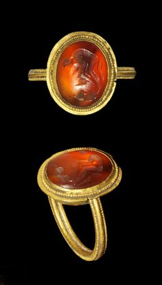 Roman Gold Ring with Carnelian Intaglio, 2nd century.