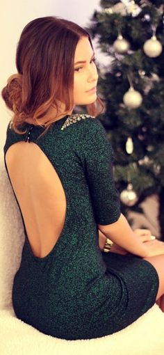 Pretty green backless dress