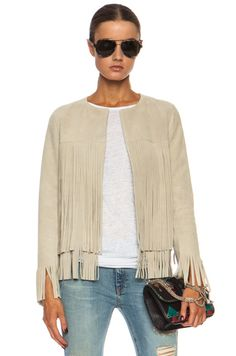 A fringed suede jacket.