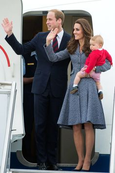 2014 ~ For a special service for Anzac Day (a holiday which honors Australians and New Zealanders who died in the service of their countries), Duchess Kate chose a gorgeous tweed coat dress by Michael Kors along with a navy blue hat. She later removed it to board the plane with Prince William and little George in tow.