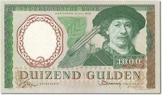 1000 gulden Nederland, 1950-1970, Rembrandt van Rijn, schilder (Hollandse Meester).