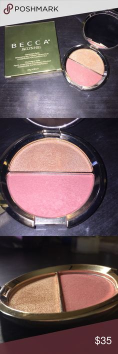 Becca x Jaclyn Hill Champagne Split GENTLY USED-see pictures. I've hardly used it as you can see. It is a limited edition product that you can never get again. Half Champagne pop, half Flowerchild blush. With the beautiful gold packaging! Comes with box too! Bundle to save more $$$$! BECCA Makeup Luminizer