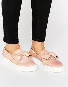 Faith Blush Velvet Bow Slip On Sneakers
