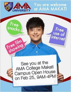 """Calling all 4th year high school students! Get a chance to receive movie tickets to """"Crazy Beautiful You"""" starring Daniel Padilla and Kathryn Bernardo when you go to AMA College Makati Campus Open House on Feb 25, 9am-4pm! Exciting treats and activities await all participants, so make sure to bring your friends and parents along! Just present your school ID at the entrance to enter the venue. LIKE AMA Makati fan page now for more details: https://www.facebook.com/AMAComputerCollegeMakati Or…"""