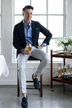 Navy blazer + striped dress shirt + tan pants + navy tassel loafers