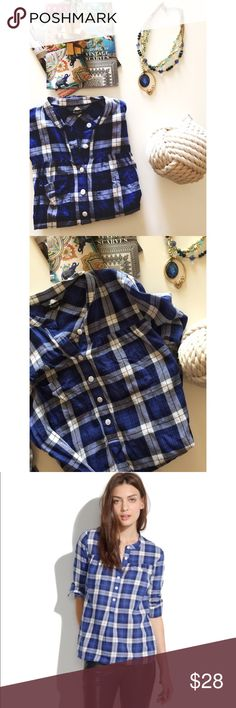 • Madewell • Plaid • Half button down • Excellent condition • 100% Cotton • NO TRADES/HOLDS • All reasonable offers accepted • Madewell Tops
