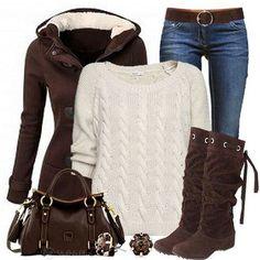 Outfit voor de winter: bruin, creme en spijker