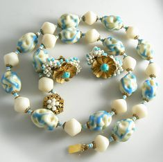 Miriam Haskell cream and turquoise colored art glass bead necklace and earrings  Unique vintage, antique, costume and estate jewelry.