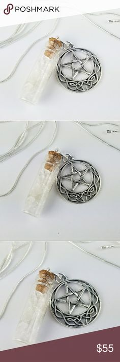 """Celtic Knot Pentagram Pixie Bottle Necklace Celtic Knot Pentagram Charm with a pixie bottle necklace. Glass bottle is filled with bright Genuine clear crystal quartz stone chips. On a 30"""" .925 Sterling Silver snake chain.   Price is firm unless bundled. High quality materials. Only one of its kind. Thank you  Magen's Fairytale Creations original handmade by me. Magen's Fairytale Creations Jewelry Necklaces"""