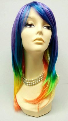 Long 18 inch Straight Rainbow Color Wig. Cosplay Wig. Scene Wig. Rainbow Dash Wig. Rainbow Brite Wig [15-111-Peacock-Multi]