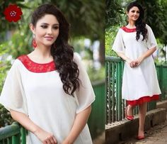 Very Elegant Looking White and Red Georgette Kurti . Comes with santoon and net on neckline. Innner and is available in L, XL, XXL size.