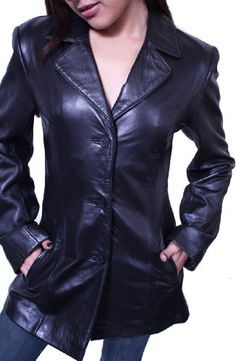 Women's 3 Buttons Black Blazer Jacket Lamb Genuine Leather Italian Style *** Check this awesome item by going to the link at the image.