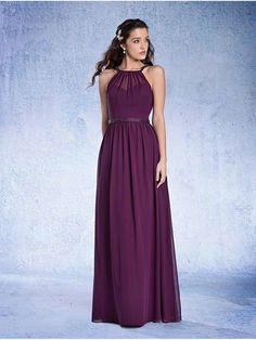 Sheath/Column Beaded Long Purple Chiffon Bridesmaid Dresses 906033