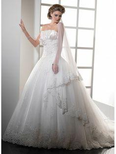 Vicenza Organza Strapless Innovative Pleated Neckline Ball Gown Wedding Dress