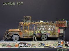 """Zombie Bus"" MICROACE 1/32 scale, heavily modified. By Alexey Gruzdev aka Алекс-Минск. #diorama #model_cars #scale_model #Zombie_Apocalypse"