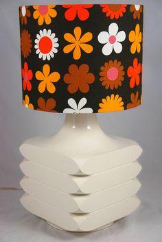 "Vintage Steuler white pottery Carl Zalloni designed ""Facette"" lamp base with Genia Sapper ""Heidi"" fabric lampshade"