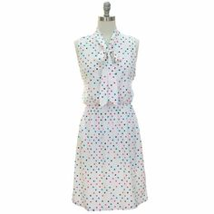 Amazon.com: White Dress With Multi Color Polka Dots & Tie Collar: Clothing