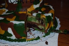 camouflage cake, inside and out