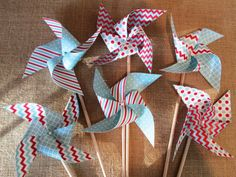 So fun for a birthday party!  Circus or Dr. Seuss Pinwheels Set of 25 Perfect for a Red and Aqua Blue Birthday Party Baby Shower Bat Mitzvah or other party favors