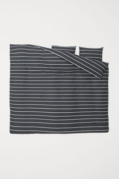 Patterned Duvet Cover Set - Dark gray/striped - Home All | H&M US 1